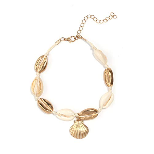 Artilady Anklet Bracelet for Women - Gold Ankles Layered Anklets Charm Boho Anklet Handmade Foot Jewelry (Shell Gold)
