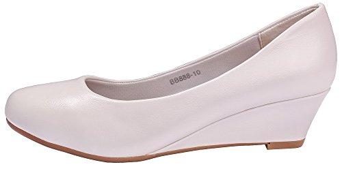 Puntera Shoes Cerrada Ageemi Mujer De Blanco Sólido Cordones Punta Sin Salón En eud87 Cuña 6Ed6Zxqw