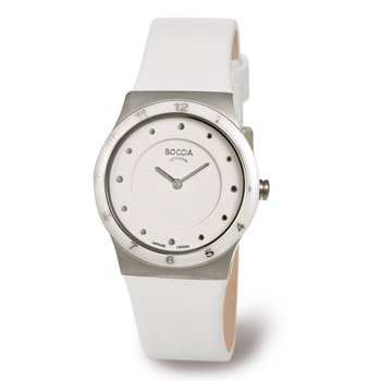 Boccia B3202-01 Ladies Titanium White Leather Strap Watch