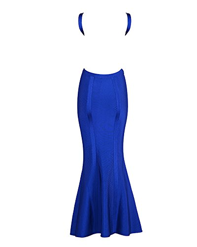 20e51b9282 Whoinshop Women s V-Neck Backless Fishtail Bandage Long Evening Formal Maxi  Dress (M