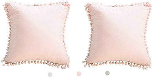 Meaning4 Pom Poms Fringe Cotton Throw Pillow Covers Light Pink 18X18 inches(45x45 cm) Set of ()
