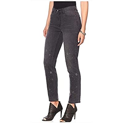 Diane Gilman DG2 570-469 Womens' Gray Stretch Embellished Skinny Jeans at  Women's Jeans store