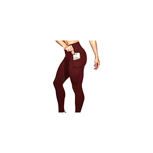 URIBAKE Women's Workout Leggings Mid Waist Solid Fitness Sports Gym Running Yoga Athletic Pants (M, Wine)