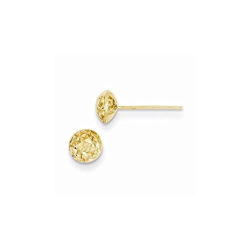 14K Yellow Gold 6mm Puff Circle Post Earrings