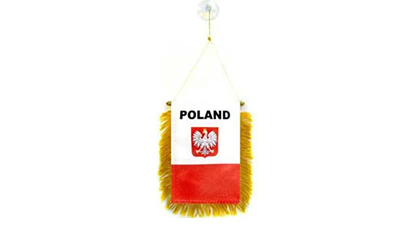 "Poland Eagle Mini Flag 4/""x6/"" Window Banner w// suction cup"