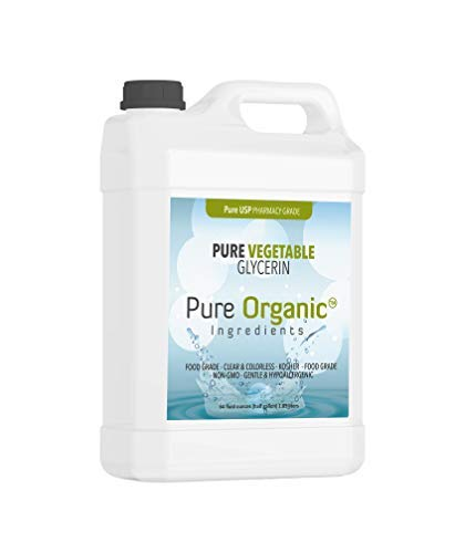 (Vegetable Glycerin (1 Gallon) by Pure Organic Ingredients, Food & USP Grade, Kosher, Vegan, Hypoallergenic Moisturizer & Skin Cleanser (also available in 8 oz, 16 oz, 1/2 gallon))