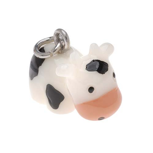 Hand Painted 3-D Black And White Cow Charm 14.6mm Lightweight - Charm White Cow