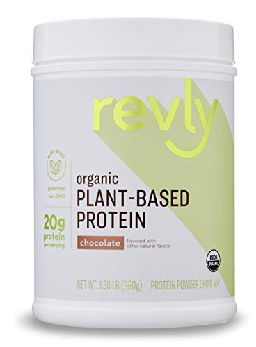 Amazon Brand – Revly Organic Plant-based Protein Powder, Chocolate, 1.5 Pound (19 Servings)
