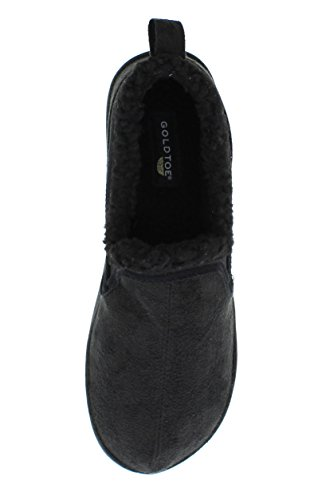 Memory Warm Mens Norman Slippers House Toe Shoes Casual Slip Fleece Lined Foam On Sherpa Gold Loafers Black x4wHqTYpnn