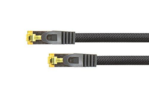 PYTHON RJ45 Ethernet LAN Patchkabel mit Cat. 7 Rohkabel, mit Rastnasenschutz RNS und Nylongeflecht, S/FTP, PiMF, halogenfrei, 500MHz, OFC, 10-Gigabit-fähig (10/100/1000/10000-Base-T Ethernet Netzwerke) - z.B. für Patchpanel, Switch, Router, Modem - schwarz, 2m
