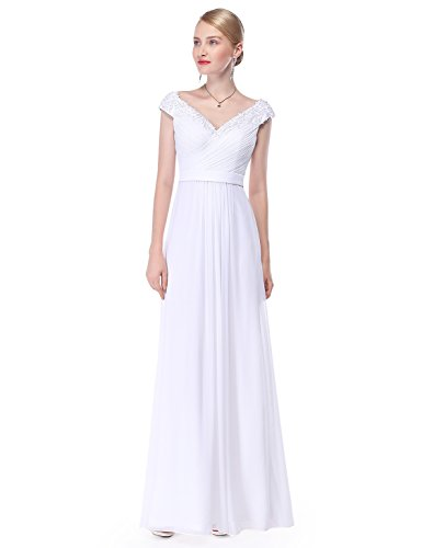 Ever-Pretty Womens Off Shoulder Lace A-Line Floor Length Simple Wedding Dress 16 US White