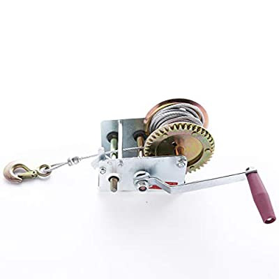 New 2000lbs Hand Winch with 29ft Cable Wire - Manual Operated with Safety Brake for ATV Boat Trailer Marine Mutil use