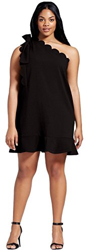 Victoria Dress In Black - Victoria Beckham Women's One Shoulder Dress With Bow and Scallop Trim (Black, 3X)