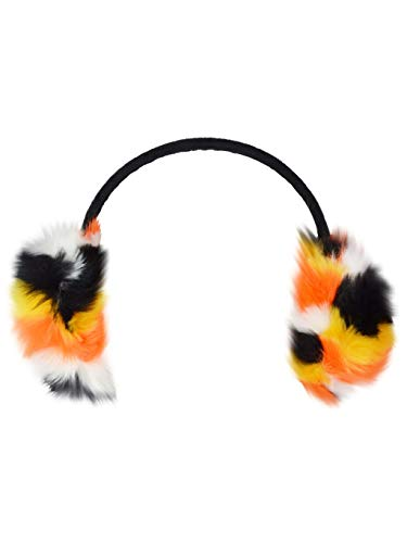 Winter Furry Colorful Striped Ear Muffs, Pattern Faux Fur Ear Warmer w/Headband (Orange & Yellow Stripes) by Rising Phoenix Industries