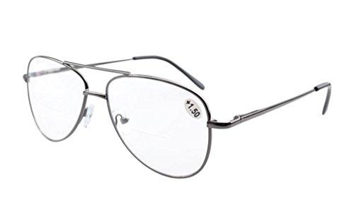 Eyekepper Spring Hinges Polycarbonate Lens Pilot Style BiFocal Reading Glasses Clear Lens - Aviator Glasses Reading Bifocal