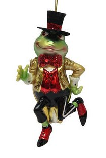 December Diamonds Frog Prince with Gold Tuxedo Glass Christmas Ornament 7980502 - Top Hat Blown Glass Ornament