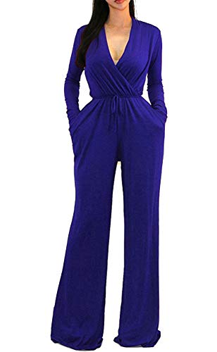 OURS Women's Elegant High Waisted Wide Leg Long Pants Jumpsuits Romper with Belt(Royal Blue, XL)