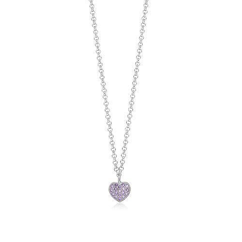 UNICORNJ Childrens Sterling Silver 925 Purple Cubic Zirconia Pave Small Heart Pendant Necklace 15