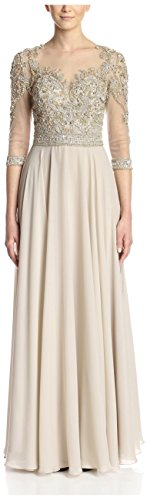 Terani Couture Women's Cropped Sleeve Embellished Gown, Taupe, 12