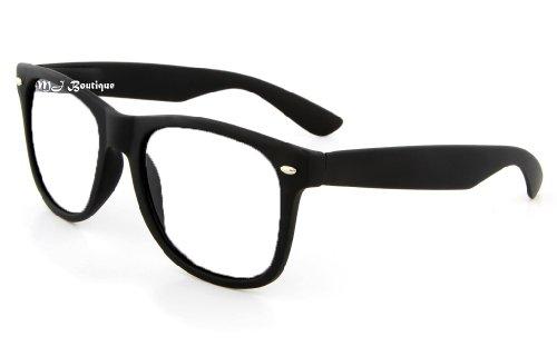 Retro Horned Rim Retro Classic Nerd Glasses Clear Lens (Flat Black, Clear) ()