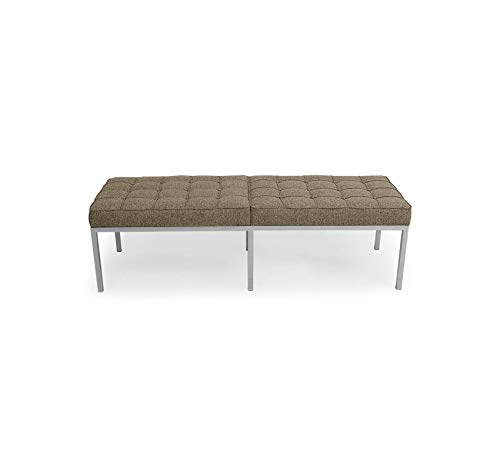 Furniture Knoll Style Bench 3 Seater, Oatmeal Houndstooth Twill Premium Office Home Durable ()