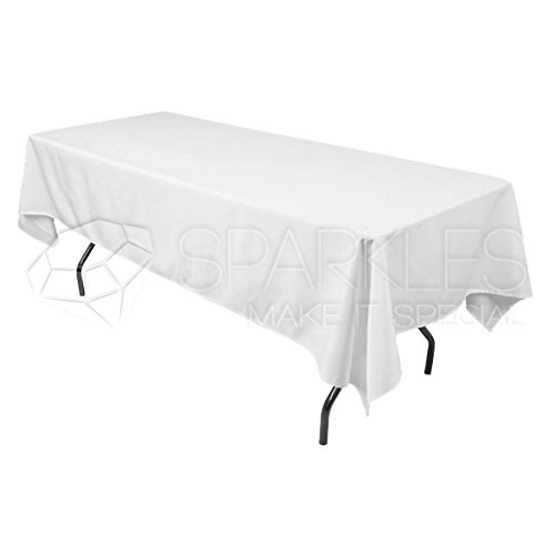 """Sparkles Make It Special 10-pcs 60"""" x 126"""" Inch Rectangular Polyester Cloth Fabric Linen Tablecloth - Wedding Reception Restaurant Banquet Party - Machine Washable - White"""