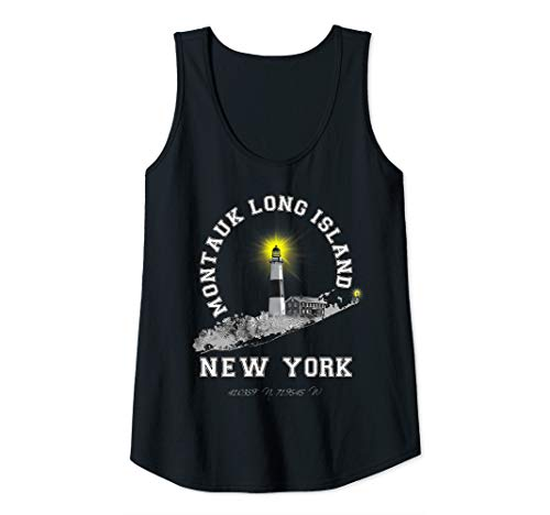 Womens Montauk Long Island New York Varsity Letter Style Lighthouse Tank Top