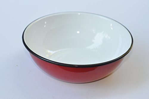 Bowl 0.6 Liter, Grandma's Choice, Vintage, Enamel Coated Iron,Perfect As Service Ware (Rice,Pasta,Salad, Fruit, Cerials,Snacks) Or For Cooking,Use For hot or cold food (Red)