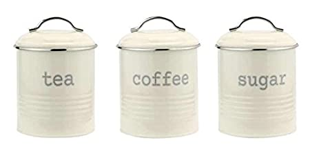 Vintage Cream Enamel Tea Coffee Sugar Kitchen Storage Canisters Jars Pots  Set Air Yight Lids BY