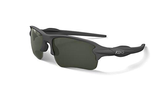 REKS Unbreakable SLING-BLADE Sunglasses (NEW 2018 Model) (Gray Metallic, Smoke (Metallic Wrap Around Sunglasses)