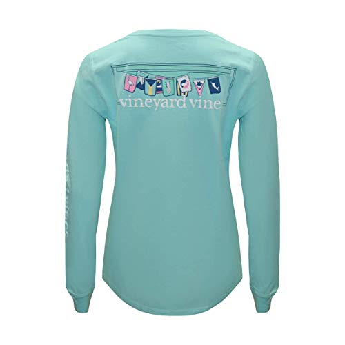 Vineyard Vines Women's Long Sleeve Pocket Signature Graphic T-Shirt (Beach Flags Caicos, Medium) from Vineyard Vines
