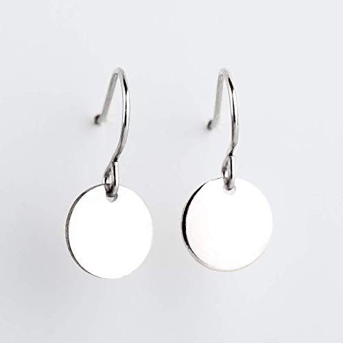 Round Circle Disc dangle drop Earrings in Sterling Silver