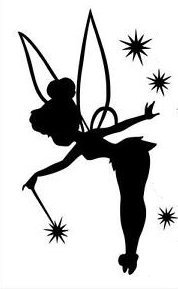Tinkerbell Black Decal Vinyl Sticker|Cars Trucks Vans Walls Laptop| Black |5 x 3 in|LLI530