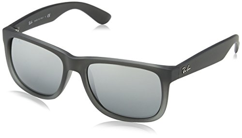 Ray-Ban Men's Justin Non-Polarized Iridium Rectangular Sunglasses, Rubber Grey/Grey Transp. , 54 - Ban Designer Ray