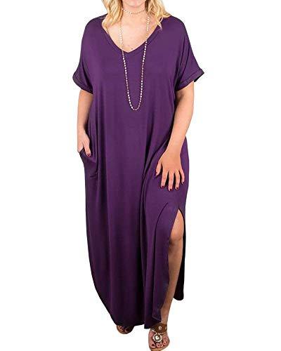 Womens Plus Size Maxi Dresses V Neck Casual Summer Short Sleeve Split T Shirt Long Dress with Pockets Purple