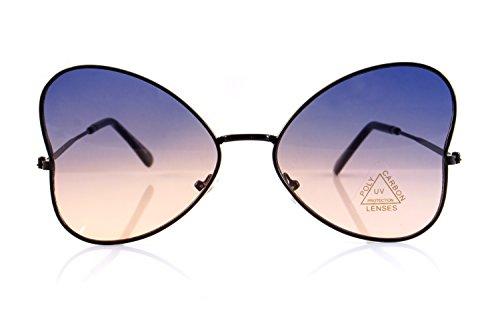 - FBL Ultra Slim Temple Gradient Flat Lens Butterfly Sunglasses A085 (Black/Blue Purple)