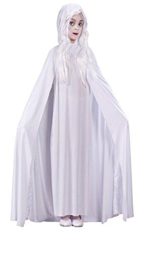 Girls Gossamer Ghost Kids Child Fancy Dress Party Halloween Costume, M (8-10) (Womens Ghostly Wig)