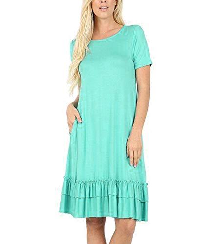 Nihewoo Womens Summer Dress Loose Short Sleeve Dress Swing T-Shirt Dresses Ruffle Midi Cocktail Dress Skirt with Pockets Green