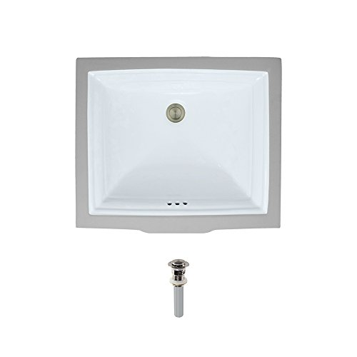 Cheap  U2450-White Undermount Porcelain Bathroom Sink Ensemble, Brushed Nickel Pop-Up Drain