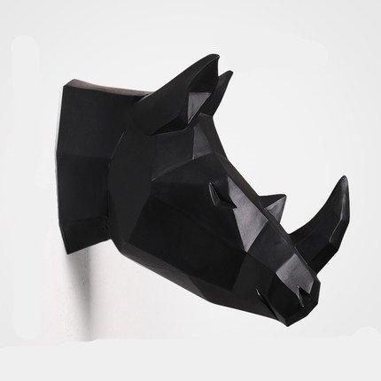 YJ Home Rhino Head Wall Sculpture - Rhinoceros Head Wall Decor (Large, Black Rhinoceros) ()