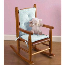 Babydoll Bedding Heavenly Soft Childs Rocking Chair Cushion, Minky Blue