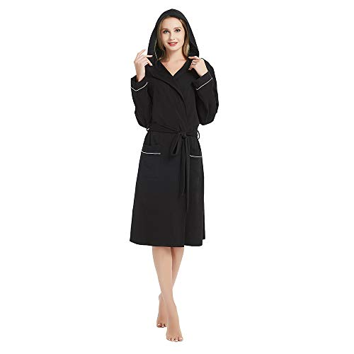 M&M Mymoon Womens Hooded Cotton Robe Soft Kimono Spa Knit Bathrobe Lightweight Long (Black, M) Cotton Extra Long Robe
