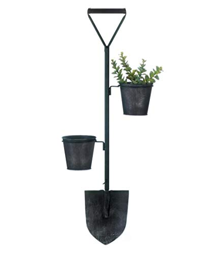 Wall Hanging Shovel Planter, Unique Black Metal Wall Plant Flower Pot Planters, Indoor Outdoor Modern Farmhouse Décor, Rustic Country Wall Planters, Iron 2 Pot Plants Holder