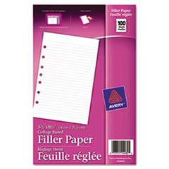 ** Mini Binder Filler Paper, 5-1/2 x 8-1/2, 7-Hole Punch, College Rule, 100 Sheets