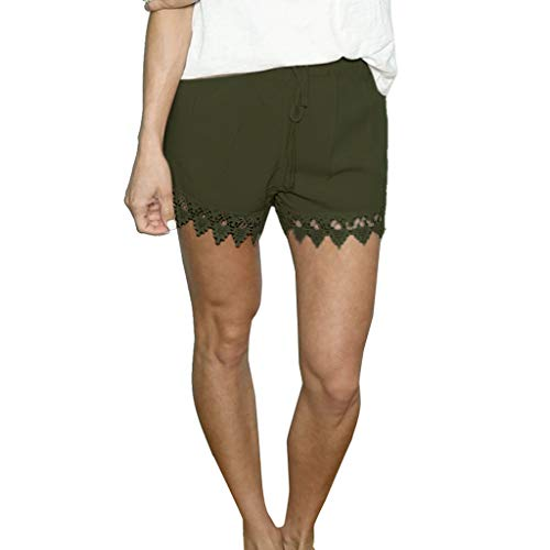 BBesty Save 15% Fashion Women Sexy Solid Lace Patchwork Casual Short Trouser Daliy Loose Shorts Green