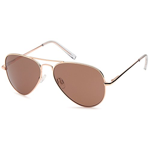 (JETPAL Men & Womens Aviator UV400 Sunglasses - Normal Brown Lens Gold Frame)