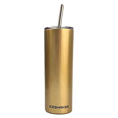 Ice Shaker 20oz Stainless Steel Skinny Tumbler with Lid and Straw (Gold)