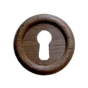 W-3 Large Round Walnut Keyhole Cover + Free Bonus (Skeleton Key Badge) ()