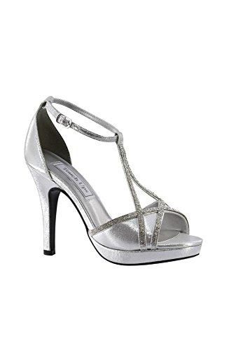 Davids Bridal Harlow Shimmer Peep-toe Tacones Con Pedrería Estilo 4203 Plata