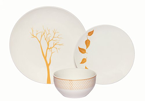 Nature Bowl Tabletop (Melange Coupe 36-Piece Porcelain Dinnerware Set (Gold Nature) | Service for 12 | Microwave, Dishwasher & Oven Safe | Dinner Plate, Salad Plate & Soup Bowl (12 Each))